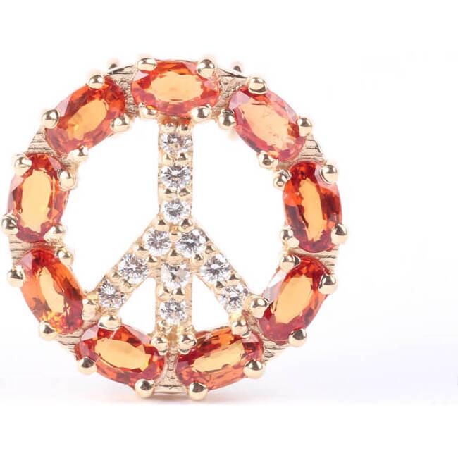 Pendant Peace Sign, Orange Sapphire 18kt Solid Gold
