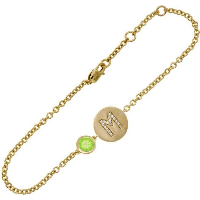 14k Yellow Gold Personalized Birthstone Bracelet, Peridot