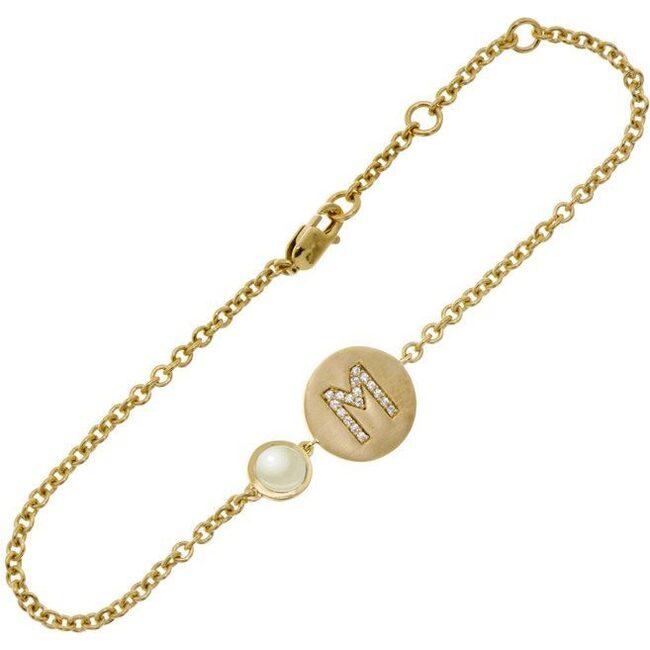 14k Yellow Gold Personalized Birthstone Bracelet, Pearl