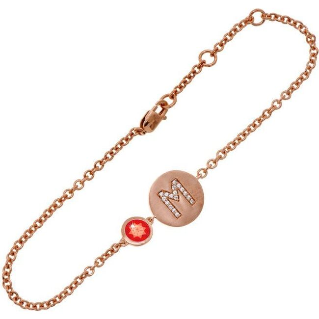 14k Rose Gold Personalized Birthstone Bracelet, Ruby