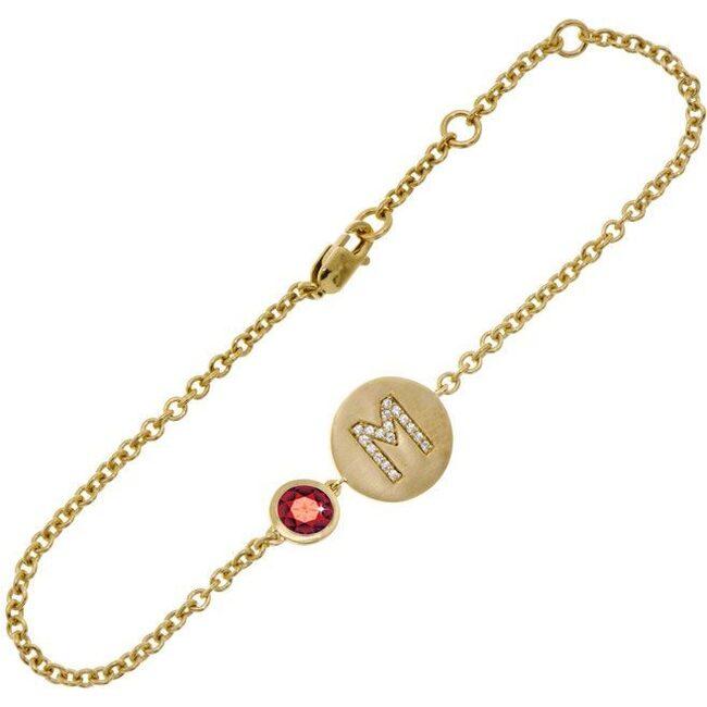 14k Yellow Gold Personalized Birthstone Bracelet, Garnet
