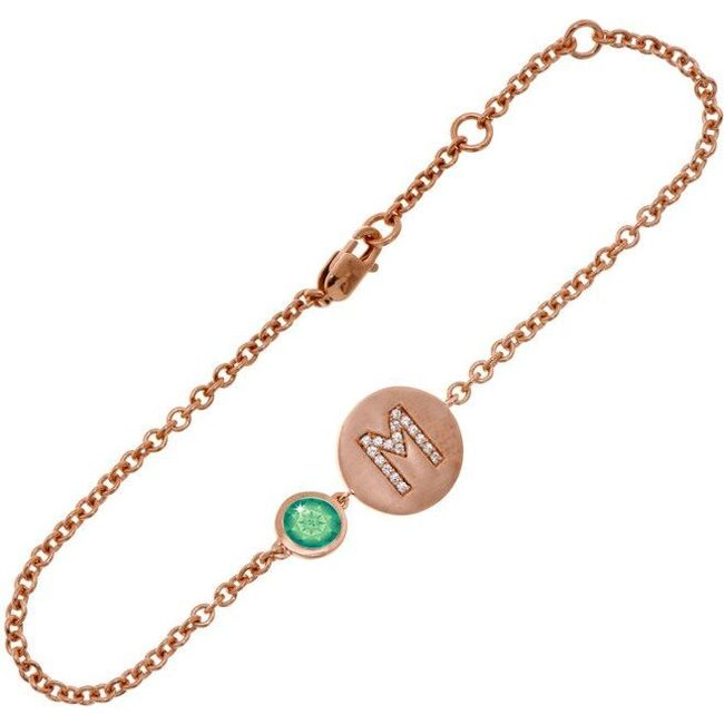 14k Rose Gold Personalized Birthstone Bracelet, Emerald