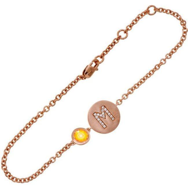 14k Rose Gold Personalized Birthstone Bracelet, Citrine