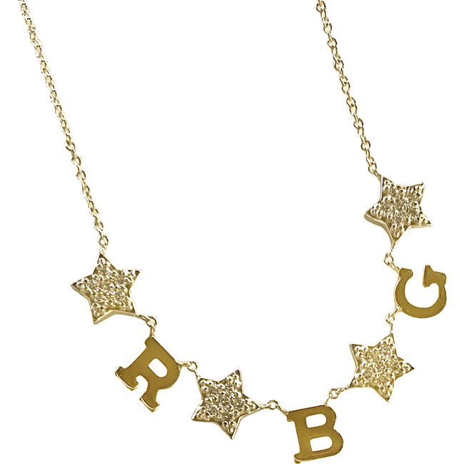 Initial Necklace with Diamond Stars