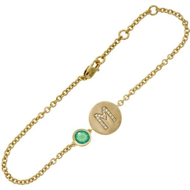 14k Yellow Gold Personalized Birthstone Bracelet, Emerald