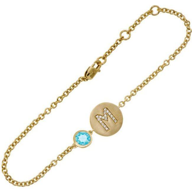 14k Yellow Gold Personalized Birthstone Bracelet, Blue Topaz