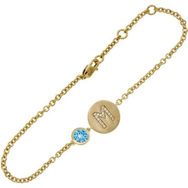 14k Yellow Gold Personalized Birthstone Bracelet, Aquamarine