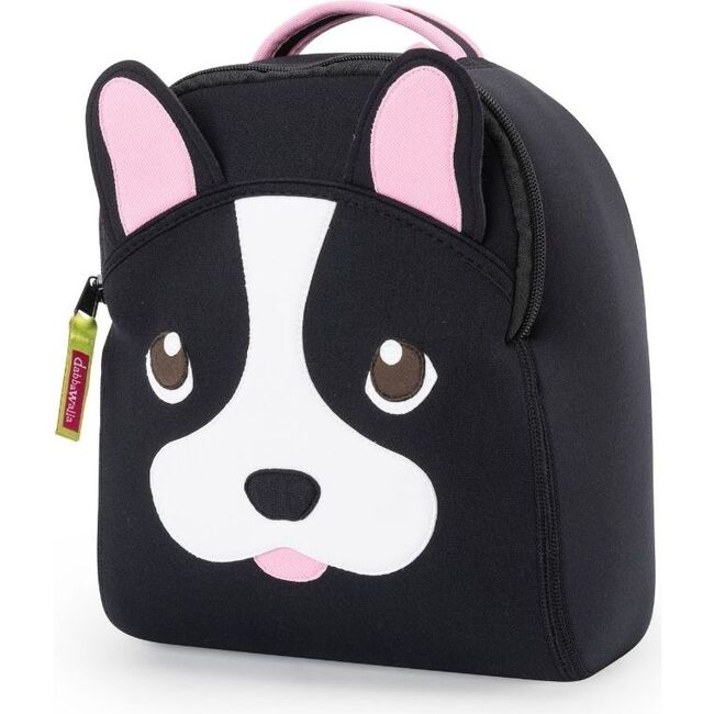 French Bulldog Toddler Harness Backpack, Black and Pink - Backpacks - 1
