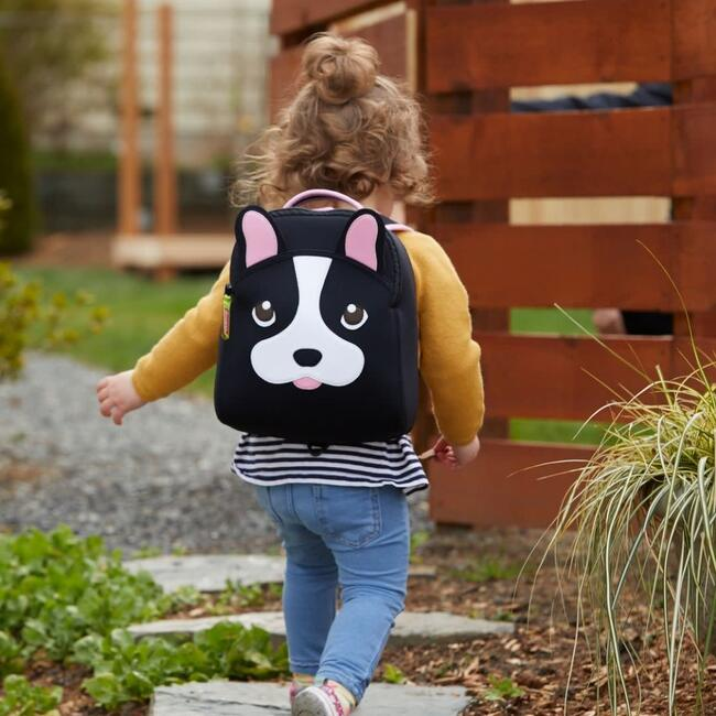 French Bulldog Toddler Harness Backpack, Black and Pink