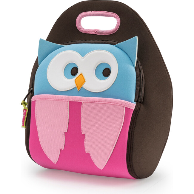 Owl Lunch Bag, Brown and Pink