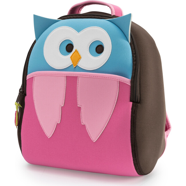 Owl Backpack, Brown and Pink