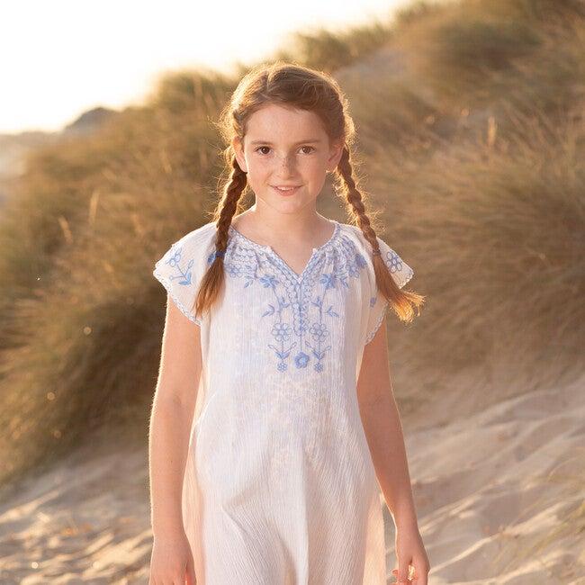 Embroidered Beach Dress, Blue