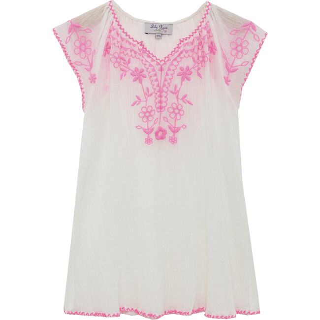 Embroidered Beach Dress, Pink - Cover-Ups - 1