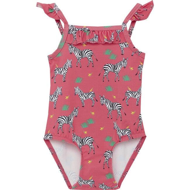 Zebra Frill Swimsuit, Pink