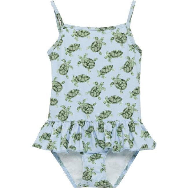 Turtle Peplum Swimsuit, Blue