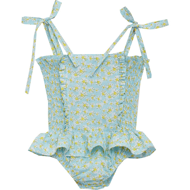 Daisy Ruched Swimsuit, Blue