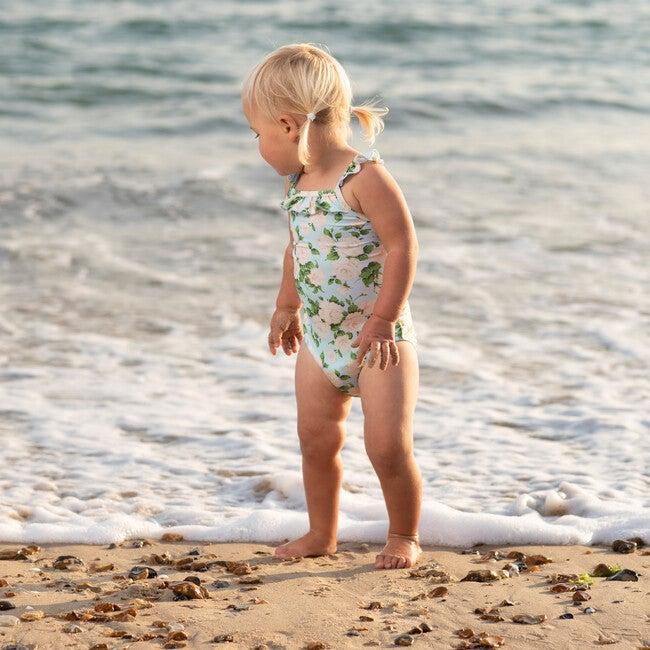Carline Rose Frill Swimsuit, Pale Blue