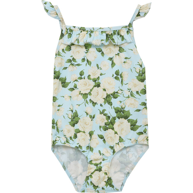 Carline Rose Frill Swimsuit, Pale Blue - One Pieces - 1