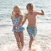 Turtle Peplum Swimsuit, Blue - One Pieces - 3