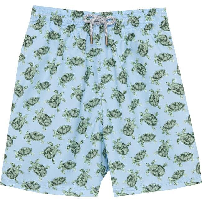 Mens Turtle Swimshorts, Blue - Swim Trunks - 1
