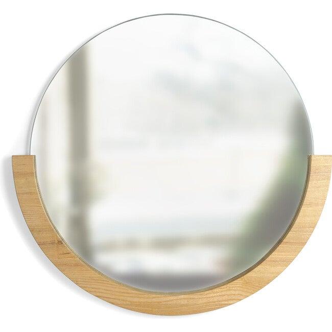 Mira Round Mirror, Natural Ashwood