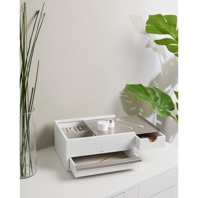 Stowit Jewelry Box, White/Nickel