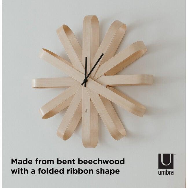 Ribbon Wood Wall Clock, Natural