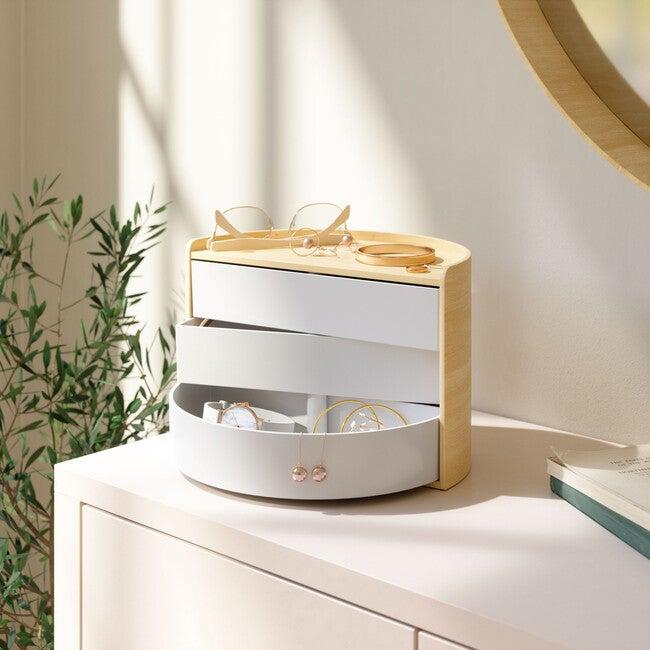Moona Rotating Storage Box, White/Natural