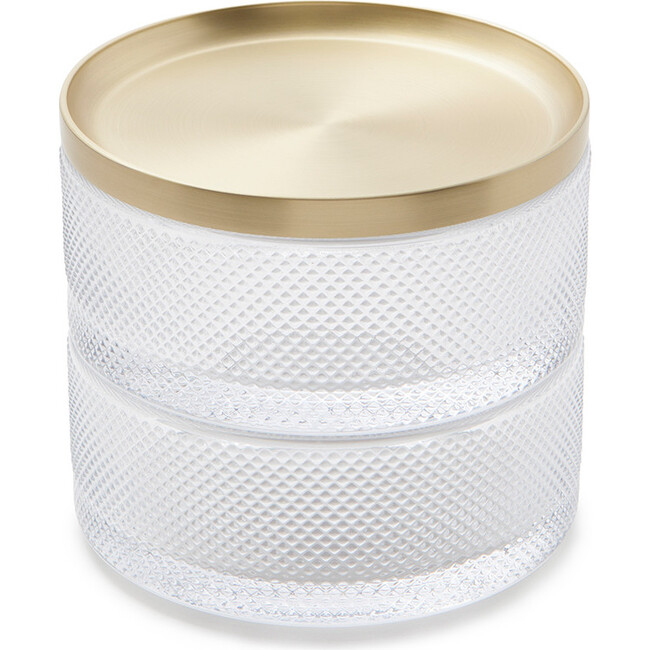 Tesora Storage Box, Clear/Brass