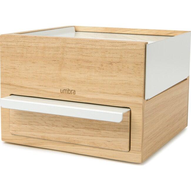 Stowit Mini Jewelry Box, White/Natural