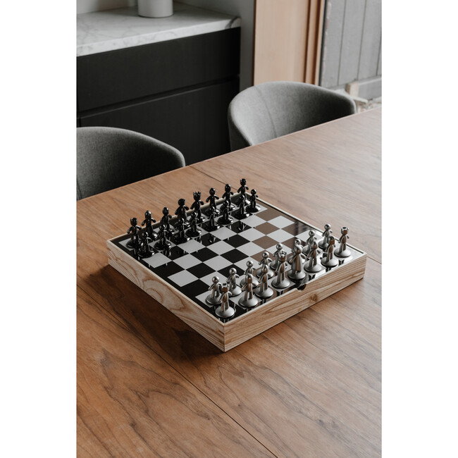 Buddy Modern Chess Set, Natural/Metal