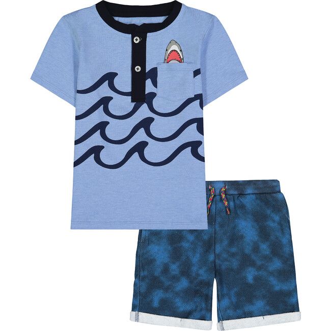 Infant Graphic Henley Tee Set, Blue