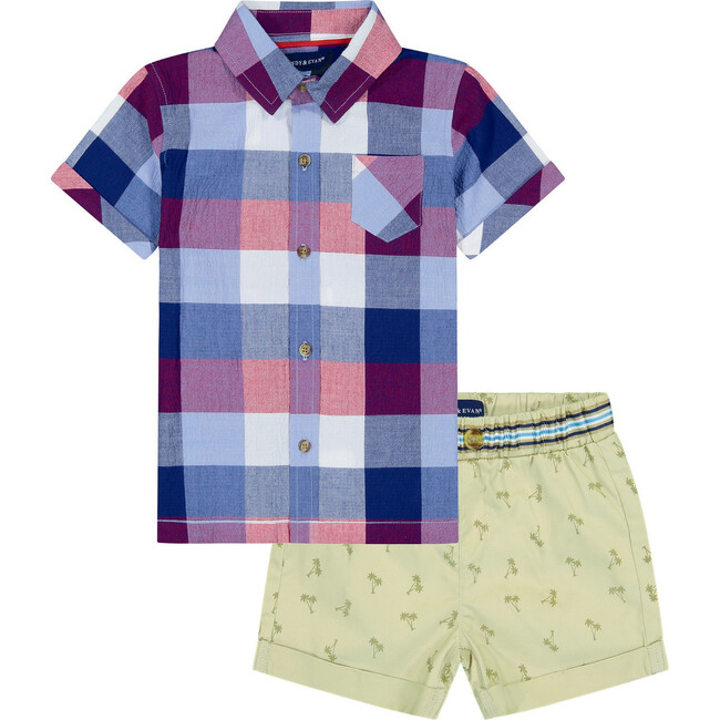 Plaid Shirt with Short Set, Red