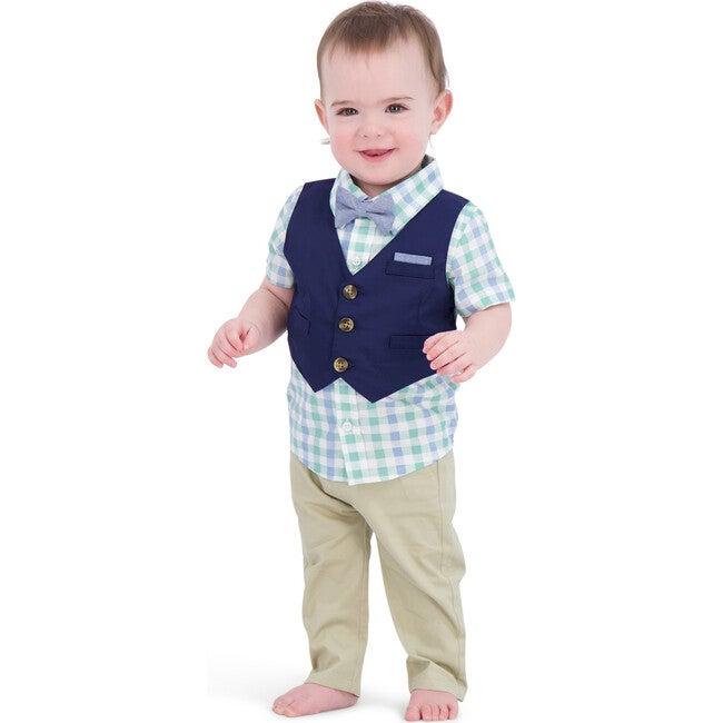 Baby Vest Playsuit & Pant Set, Navy