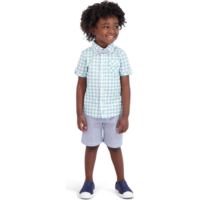 Mint Gingham Shorts Set, Aqua