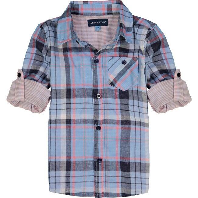 Plaid Button Down Shirt, Light Blue