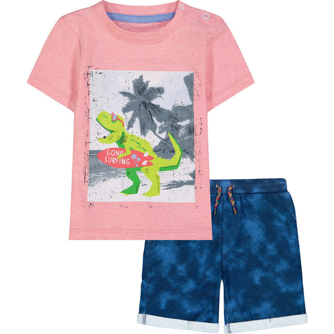 Surfing Dino Tee Shirt Set, Red