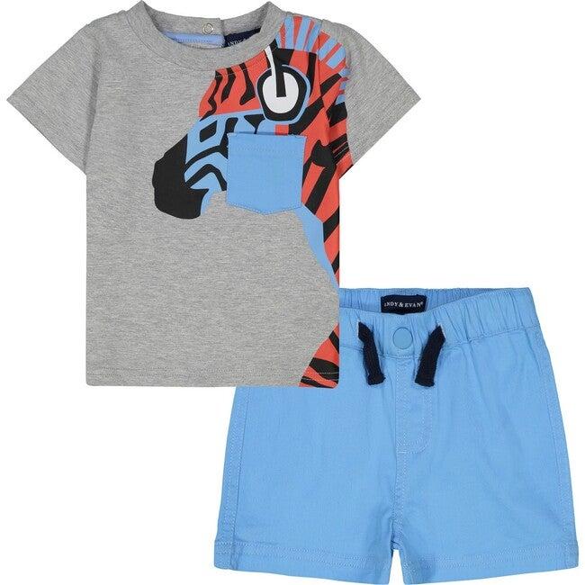 Zebra Tee Shirt Set, Grey