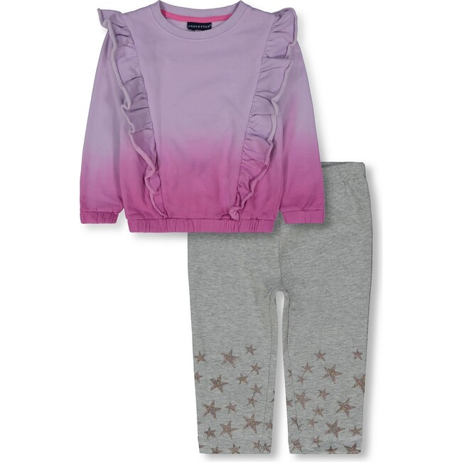 Ruffle Sweatshirt Legging Set, Purple