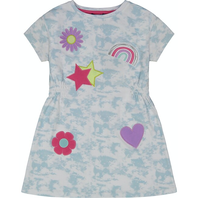 Tie Dye Dress With Patches, Blue