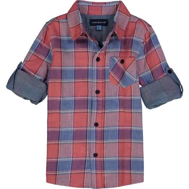 Plaid Button Down Shirt, Red & Blue