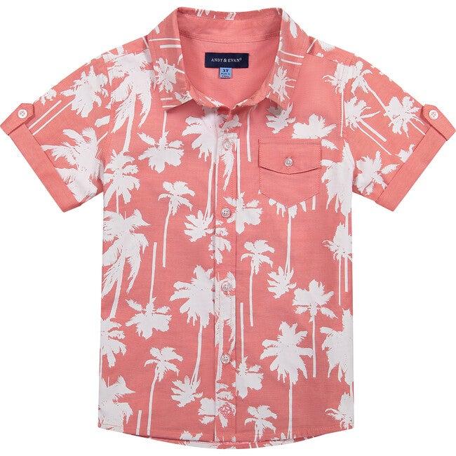 Coral Palm Button Down Shirt, Orange