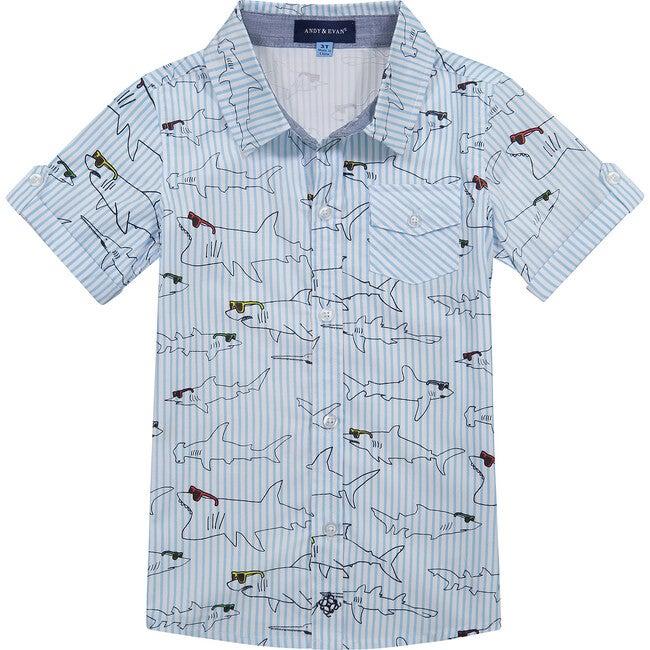Striped Shark Button Down Shirt, Blue