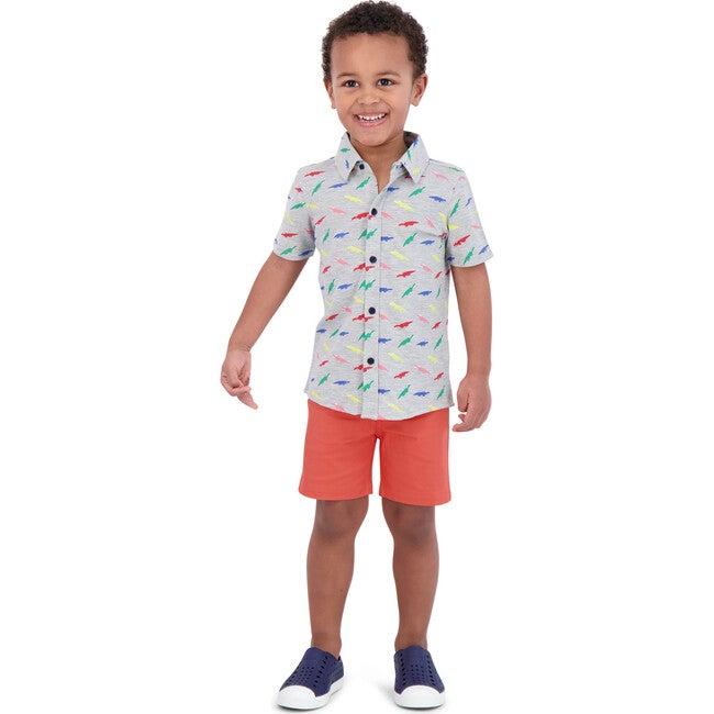 Croc Button Down Shirt, Grey