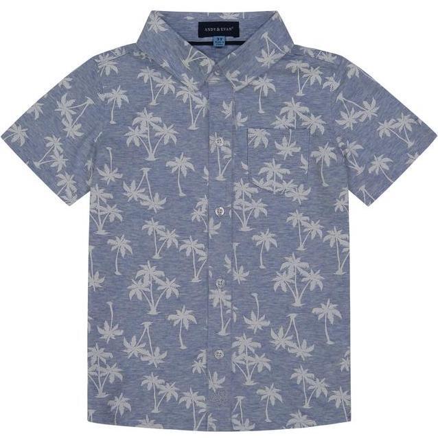 Palm Knit Button Down Shirt, Light Blue