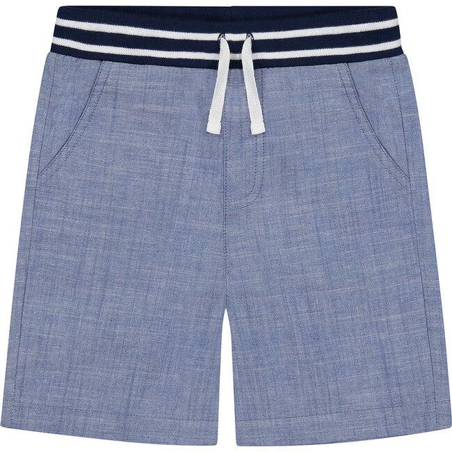 Chambray Jogger Short, Blue