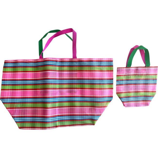 Pink Plaid Oversized Beach Bag