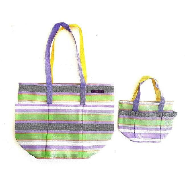 Lavender Checks Garden Pockets Galore Bag
