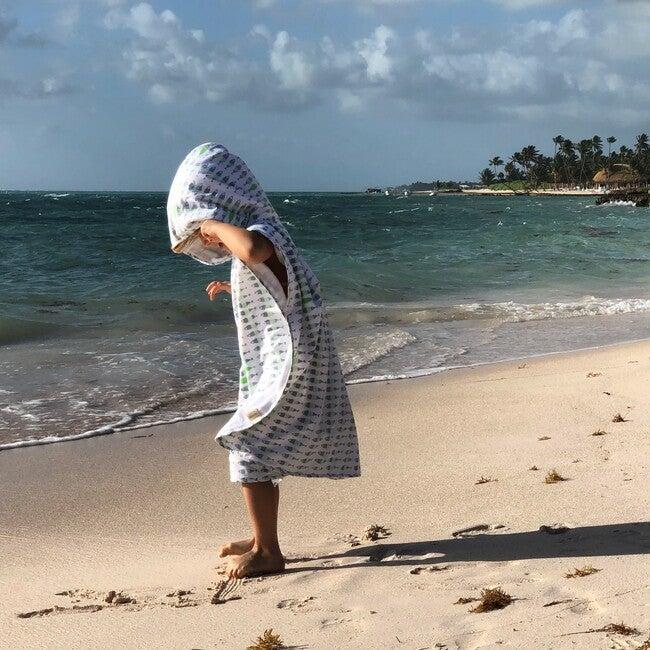 Kai Beach/Bath Poncho, Blue/Island Green
