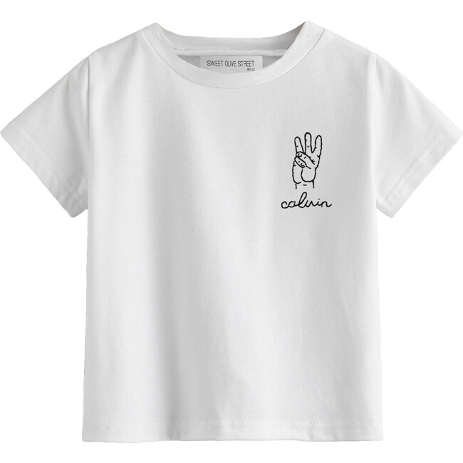 Hand Embroidered This Many Birthday Tee Number 3, White